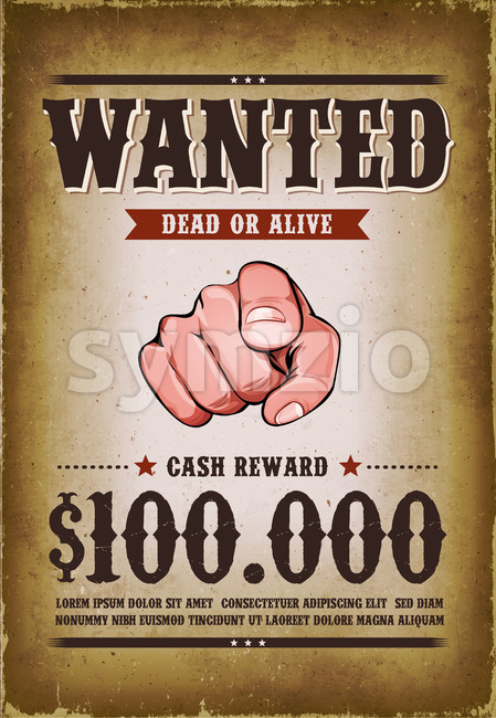 Vintage Wanted Western Poster Stock Vector