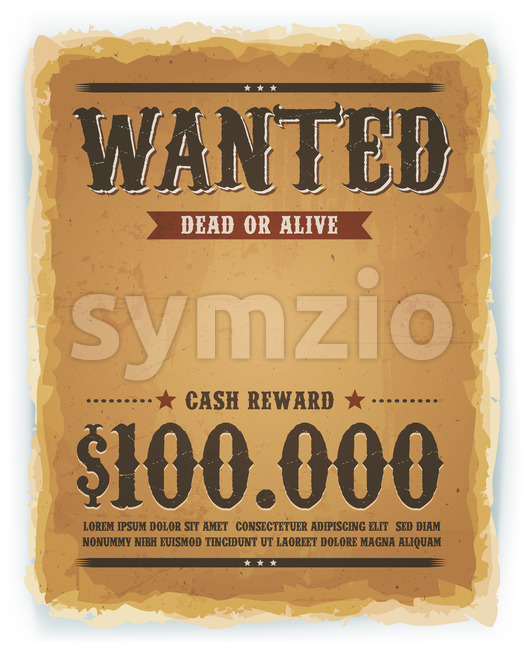 Wanted Poster On Vintage Paper Background Stock Vector