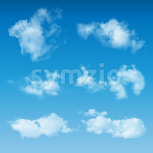 Transparent Realistic Clouds On Blue Sky Stock Vector