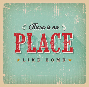 There Is No Place Like Home Retro Card Stock Vector