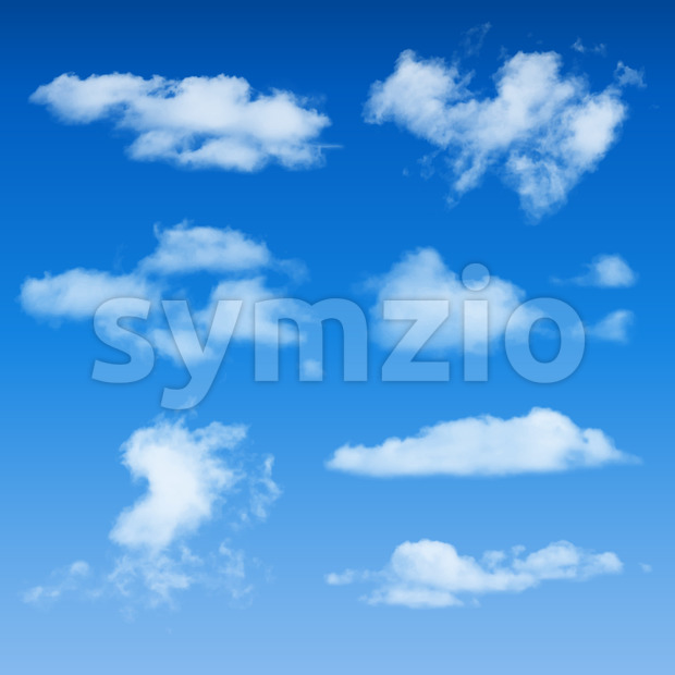 Clouds Shapes On Blue Sky Background Stock Vector