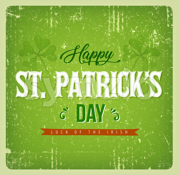 Happy St. Patrick's Day Vintage Card Stock Vector