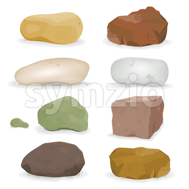 Rocks, Boulders And Stones Set Stock Vector