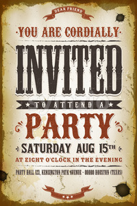 Vintage Party Invitation Background Stock Vector