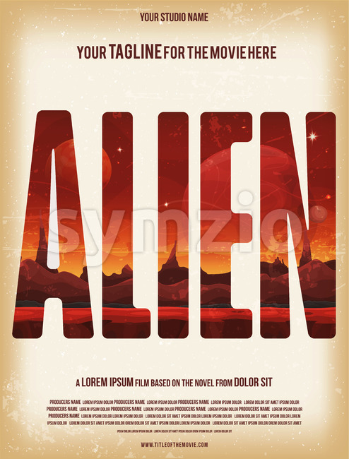 Alien Movie Poster Template Stock Vector