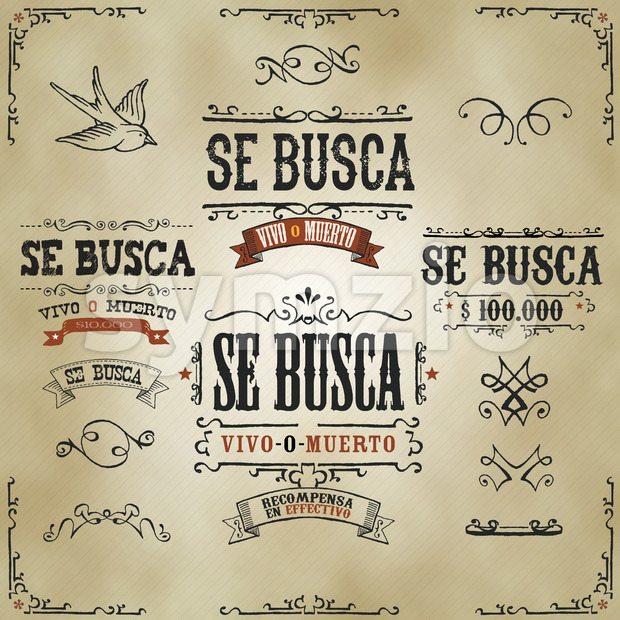 Illustration of a set of hand drawn vintage old wanted, se busca vivo o muerto in spanish language, western movie ...