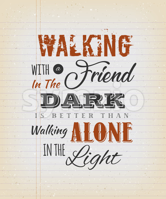 Vintage Walking With A Friend Quote Stock Vector