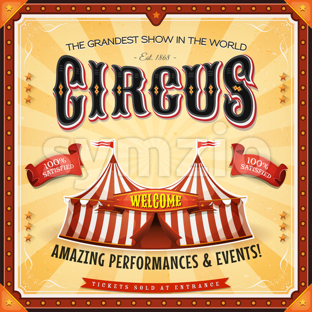 Square Circus Poster With Frame Stock Vector