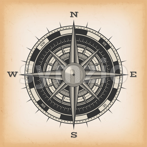 Wind Rose Compass On Vintage Background Stock Vector