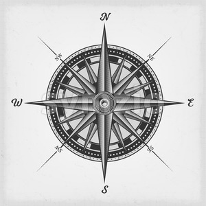 Compass Rose Black And White Stock Vector