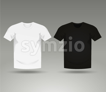 Mens Black And White Blank T-Shirt Templates Stock Vector