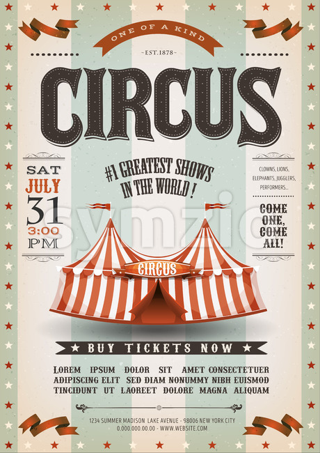 Vintage Grunge Circus Poster Stock Vector