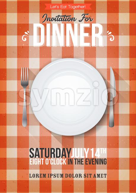 Dinner Invitation Background Stock Vector