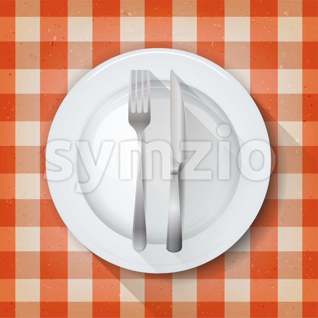 Illustration of a table setting with tablecloth background, empty plate, knife and fork dishes, and grunge texture