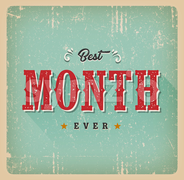 Best Month Ever Vintage Card Stock Vector
