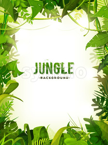 Jungle Tropical Leaves Background Stock Vector
