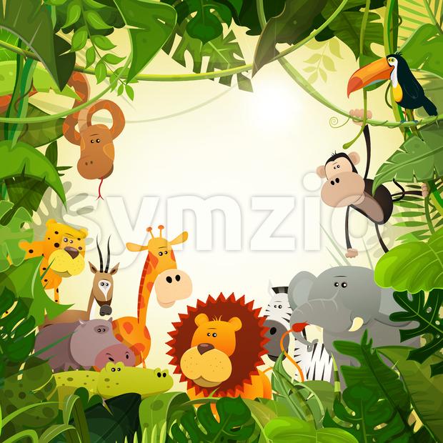Wildlife Jungle Animals Background Stock Vector