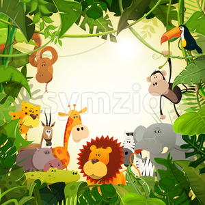 Wildlife Jungle Animals Background Stock Vector