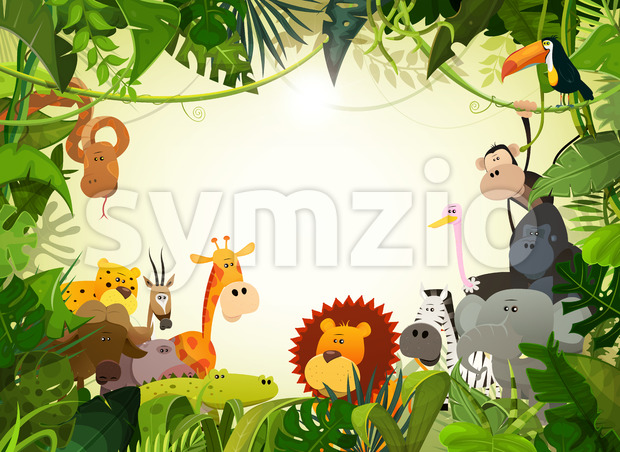 Wildlife Animals Landscape Stock Vector