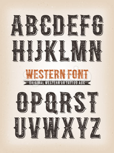 Vintage Western And Circus ABC Font Stock Photo