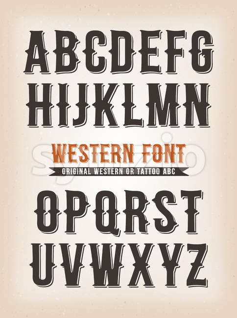 Vintage Western And Tattoo ABC Font Stock Vector