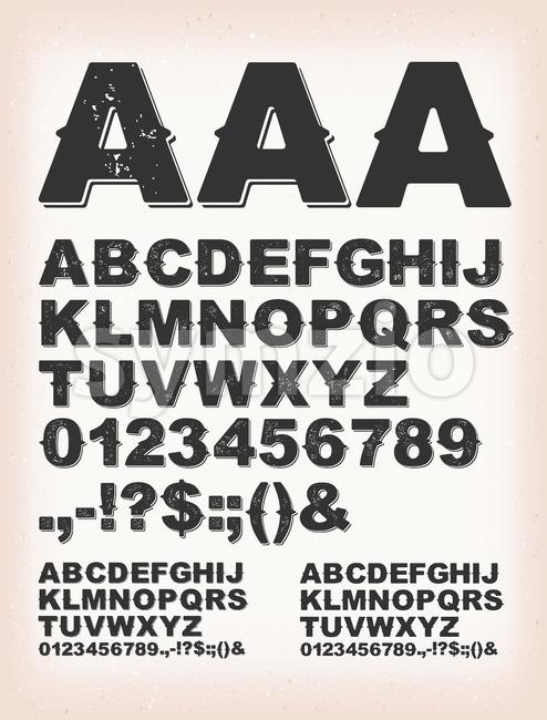 Rusty Grunge Shadow ABC Font Stock Vector