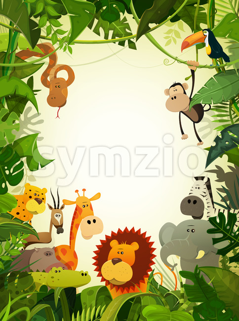 Illustration of cute cartoon wild animals from african savannah, including hippo, lion, gorilla, elephant, giraffe, gazelle, ostrich and zebra with ...