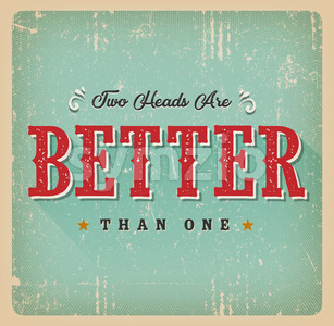 Two Heads Are Better Than One Retro Card Stock Vector