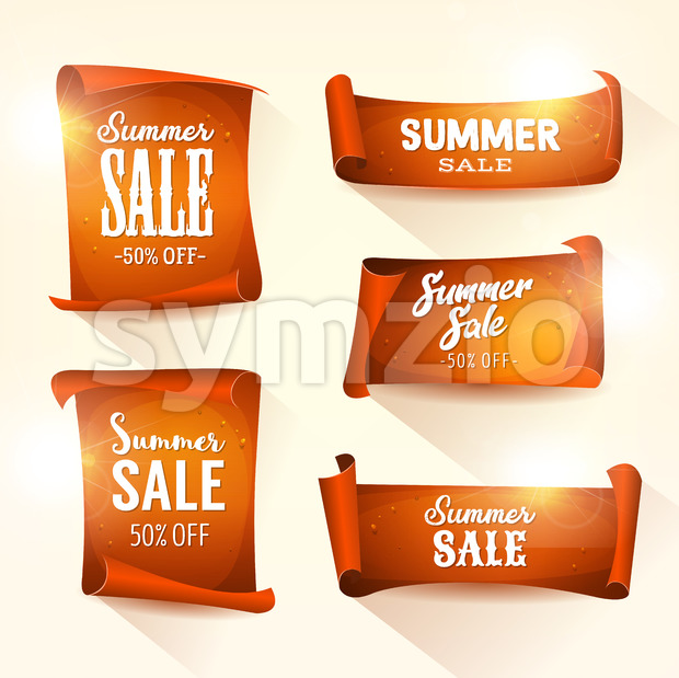 Summer Sales On Shining Parchment Scroll Set Stock Vector
