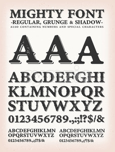 Mighty Western Font Regular, Shadow And Grunge Stock Vector