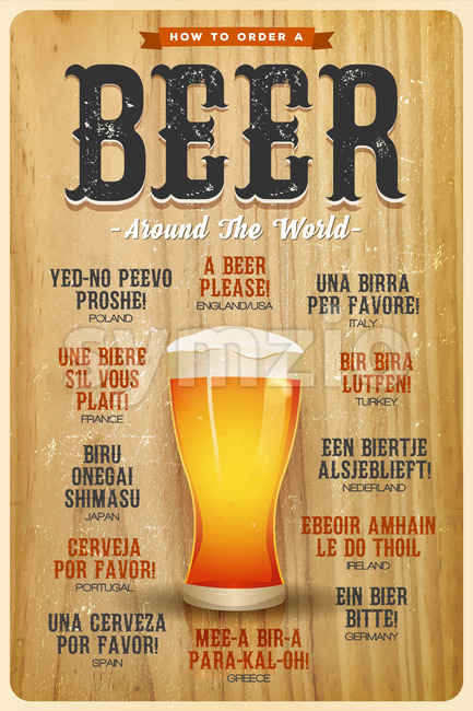 How To Order A Beer Around The World Poster Stock Vector