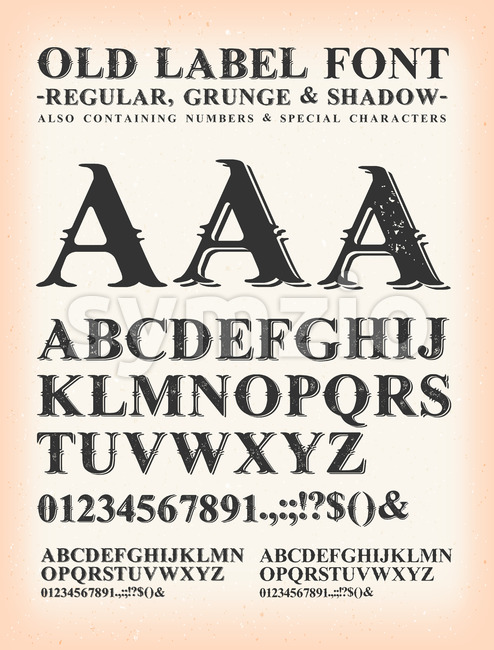 Vintage Old Label Western Font Stock Vector