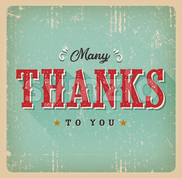 Many Thanks To You Retro Card Stock Vector