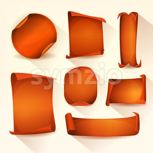 Orange Badges And Parchment Scroll Set Stock Vector
