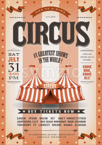 Vintage Grunge Striped Circus Poster Stock Vector