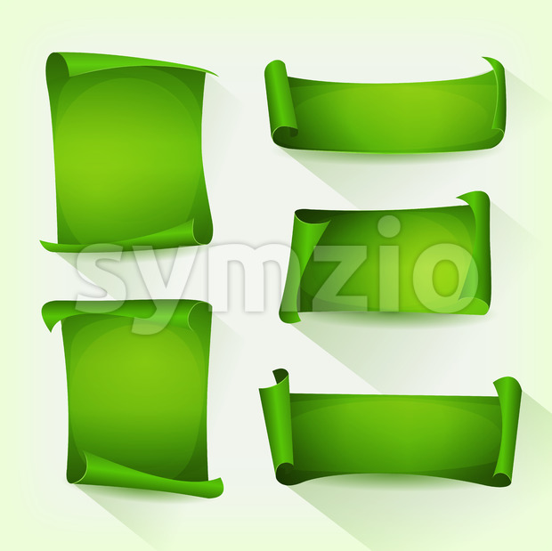 Green Parchment Scroll Set Stock Vector