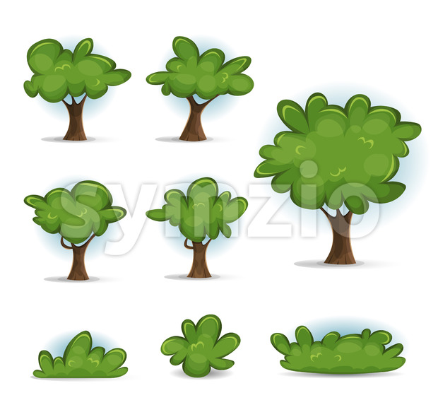 Cartoon Forest Trees, Bush And Hedges Stock Vector