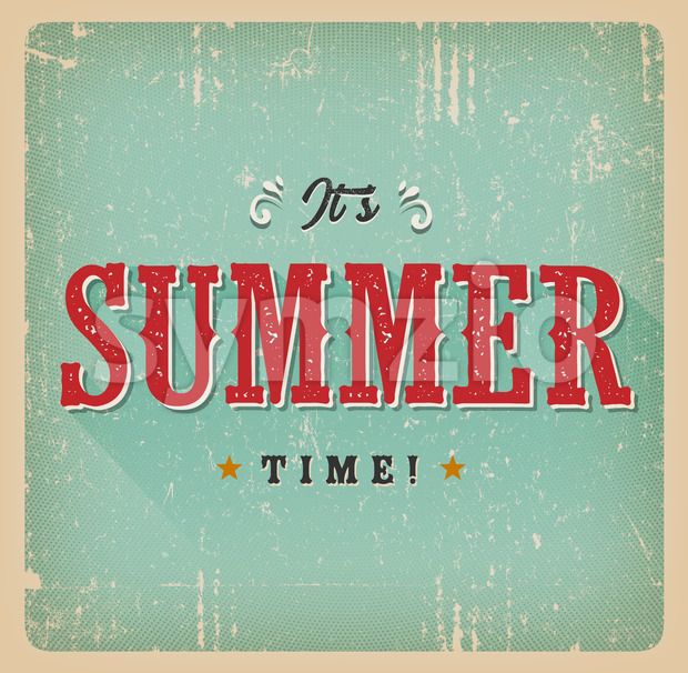 It's Summer Time Retro Card Stock Vector