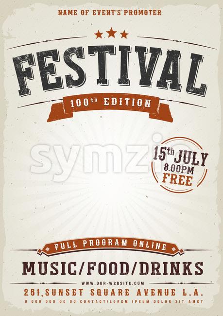 Music Festival Vintage Poster Stock Vector
