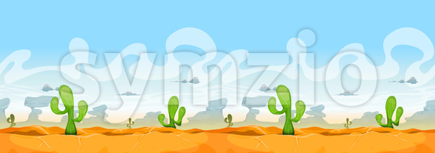 Seamless Western Desert Landscape For Ui Game Stock Vector