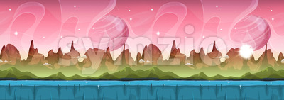 Fairy Sci-fi Alien Landscape For Ui Game Stock Vector