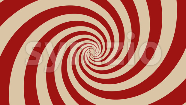 Animation of a vintage and retro hypnotic red spiral background rotating