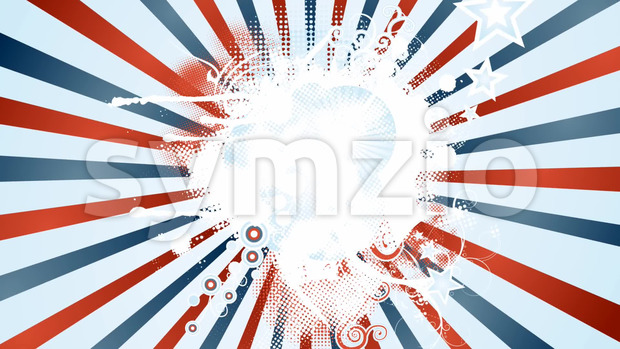 Animation of an abstract vintage and retro american patriotic background, with sunbeams, stars and stripes for independence day celebration