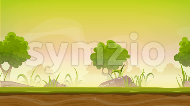 Animation of a cartoon seamless green nature forest background with parallax motion effect, grass, rocks and trees for ui game