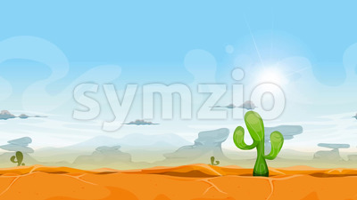 Seamless Western Desert Landscape Animation Stock Video