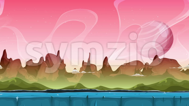 Looped seamless slideshow animation of a cartoon sci-fi alien planet landscape background, with layers for parallax including weird mountains range, ...