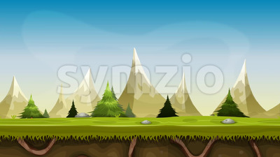 Seamless Mountains Landscape Animation Stock Video