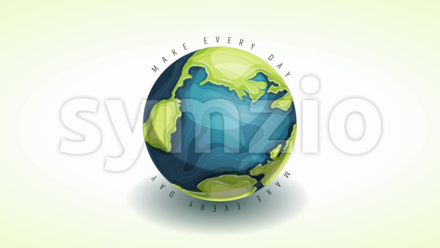 Animated Motion graphic of a happy earth day banner, on cartoon earth rotating, for april 22 world environment safety celebration