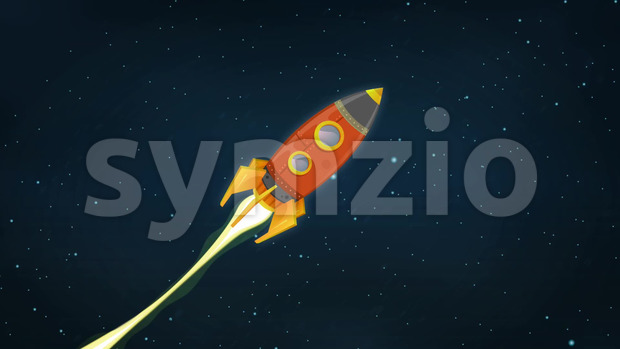Looped Animation of a cartoon retro red spaceship blasting off and explorating space and planets