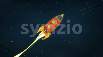 Rocket Ship Flying Through Space Animation Stock Video